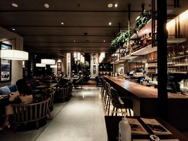 dimly lit restaurant